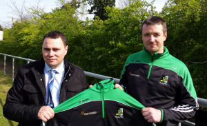 Thermodial sponsorship presentation - Mark Carrick [l], Thermodial Director and Christy Breen [r], Innisfail GAA