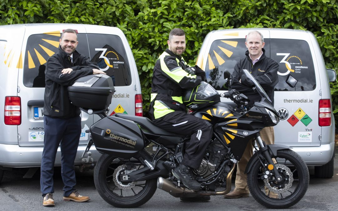 Thermodial motorbike with Derek Healy and directors: Alan Keegan and Turlough Kinane, all of Thermodial