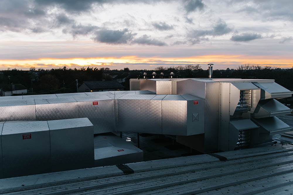 Thermodial cladding of rooftop pipework and air handling unit (AHU)