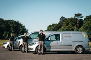 Thermodial service engineers with vehicles