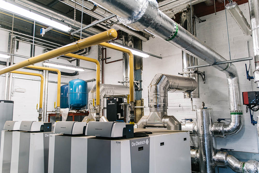 Thermodial condensing boilers flues and gas pipes in plantroom